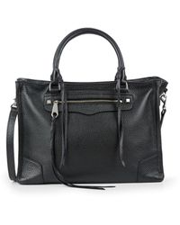 Rebecca Minkoff Regan Pebbled Leather Satchel - Black