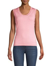 M Missoni Metallic-knit Tank Top - Pink