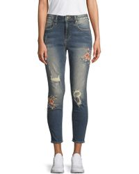 Miss Me - Floral-embroidered Skinny Ankle Jeans - Lyst