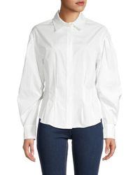 FRAME Women's Geraldine Spread-collar Shirt - White - Size S