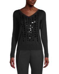 Akris Wool, Silk & Sequin Jumper - Black