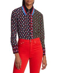 Alice + Olivia Willa Mixed Print Blouse - Red