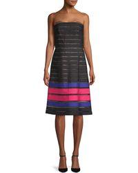 Oscar de la Renta Strapless Moire Ribbon Dress - Multicolor