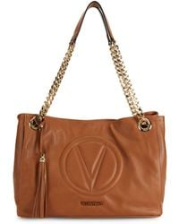 Valentino By Mario Valentino Verra Sauvage Quilted Logo Leather Tote - Brown