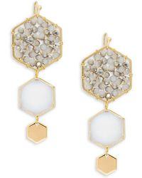 Panacea - Goldplated White & Grey Crystal Hexagon Drop Earrings - Lyst