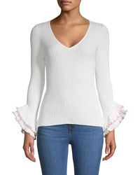 MILLY Ruffle-sleeve Pullover - White