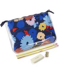 Kate Spade 5-piece Floral Pencil Pouch Set - Blue