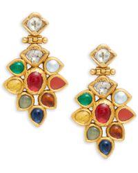 Amrapali 22k Yellow Gold, Navratna Stones & Diamond Drop Earrings - Metallic
