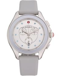 Michele Cape Stainless Steel, Blue Topaz & Silicone-strap Chronograph Watch - Multicolour