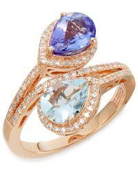 Effy - Tanzanite, Aquamarine, 0.34 Tcw Diamond & 14k Rose Gold Ring - Lyst