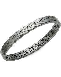 John Hardy Gunmetal-tone Sterling Silver Hinged Bangle Bracelet - Metallic