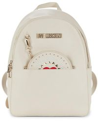 Love Moschino Faux Leather Logo Backpack - White