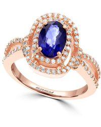 Effy - Diamond, Sapphire & 14k Rose Gold Ring - Lyst