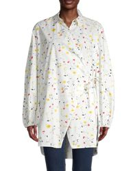 Ganni Women's Floral Wrap Shirt - Bright White - Size 38 (6)