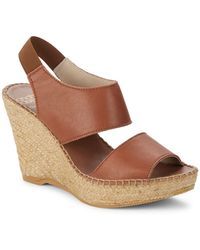 Andre Assous Reese Leather Espadrille Wedge Sandal - Brown