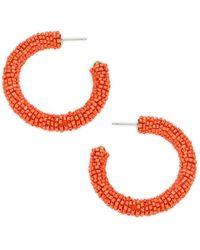 Panacea Goldtone Beaded Hoop Earrings - Multicolour