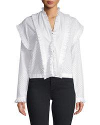 Alaïa Ruffled Cotton Top - White