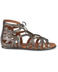 Gentle Souls Leather Ghillie D'orsay Flat Sandals - Brown