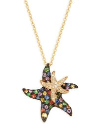 Effy Women's 14k Yellow Gold, Black Rhodium-plated, Sapphire & Diamond Double Starfish Pendant Necklace
