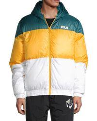 Fila Men's Tatum Colorblock Puffer Jacket - Teal Yellow - Size Xl