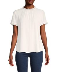Tommy Hilfiger Ruffled-trim Roundneck Top - White