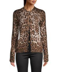Dolce & Gabbana Leopard Cashmere & Silk Cardigan Sweater - Brown