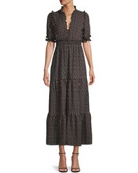 Max Studio Printed Tiered Maxi Dress - Black