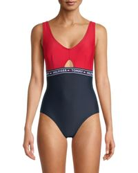 Tommy Hilfiger Women's Elastic Logo One-piece Swimsuit - Navy Red - Size S