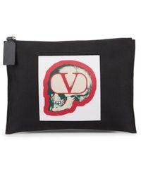 Valentino Garavani Skull Logo Pouch - Black
