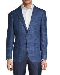 Hickey Freeman Men's Milburn Ii Regular-fit Check Wool & Silk Jacket - Blue - Size 40 R