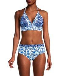 Tommy Bahama Woodblock Reversible Bikini Top - Blue