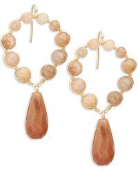 Panacea Goldtone Circle Drop Earrings - White