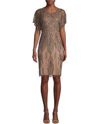 Adrianna Papell Embellished Mini Sheath Dress - Natural
