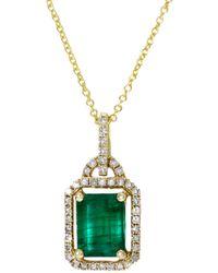 Effy 14k Yellow Gold, Emerald & Diamond Pendant Necklace - Metallic