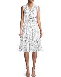 T Tahari Abstract-print Belted Shirtdress - White