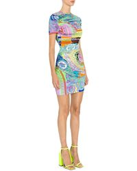 Versace Baroque Stretch Jersey Printed Bodycon Dress - Blue