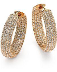 """Adriana Orsini - Pavà Crystal & 18k Goldplated Inside-outside Hoop Earrings/0.75"""" - Lyst"""