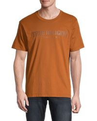 True Religion Men's Logo Graphic Cotton T-shirt - Caramel - Size Xl - Orange