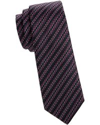 Missoni Striped Skinny Silk Tie - Purple