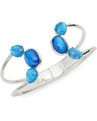 Ippolita 925 Rock Candy Sterling Silver & Mother-of-pearl & Clear Quartz Doublet Cuff Bracelet - Blue