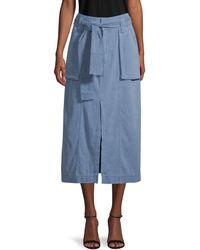 Free People Catching Feelings Midi Denim Skirt - Blue