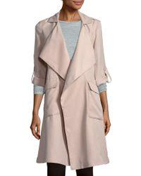 Saks Fifth Avenue Black Long-sleeve Tie-waist Coat - Multicolor