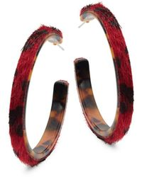 Ava & Aiden Leopard-print Faux Fur & Tortoiseshell Hoop Earrings - Red