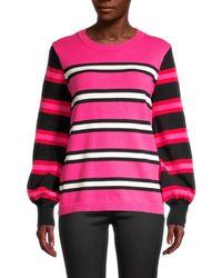 Karl Lagerfeld Women's Contrast Stripe Jumper - Pink - Size M