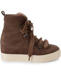 J/Slides Whitney Faux Fur & Suede Hidden Wedge-heel Booties - Brown