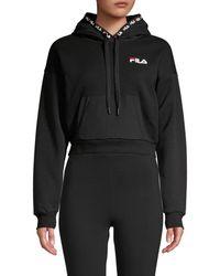 Fila Women's Cropped Logo Drawstring Hoodie - Black - Size Xs