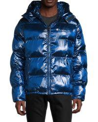 Champion Men's Melange Hooded Puffer Jacket - Red Spark - Size S - Blue