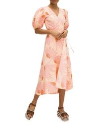 Kate Spade Women's Fling Floral Wrap Dress - Light Guava - Size 10 - Pink