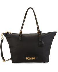 Moschino Logo Top Zip Nylon Tote - Black