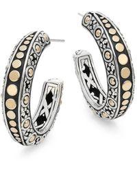 John Hardy - Dot 18k Yellow Gold & Sterling Silver Gypsy Hoop Earrings - Lyst